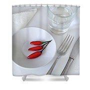 Plate Of Chilies  Shower Curtain