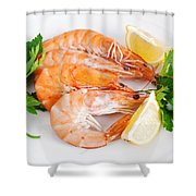 Plate With Shrimps  Shower Curtain