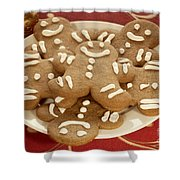 Plateful Of Gingerbread Cookies Shower Curtain by Juli Scalzi