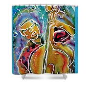 Play The Blues Bass Man Shower Curtain