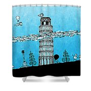 Playful Tower Of Pisa Shower Curtain