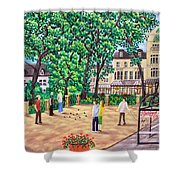 Playing Boules At Betty's Cafe- Harrogate Shower Curtain