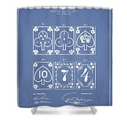 Playing Cards  Patent Drawing From 1877 - Light Blue Shower Curtain