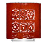 Playing Cards  Patent Drawing From 1877 - Red Shower Curtain