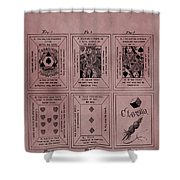 Playing Cards Patent Red Shower Curtain