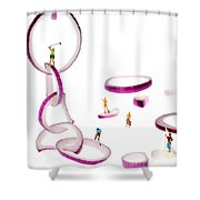 Playing Golf Among Onion Rings Little People On Food Shower Curtain