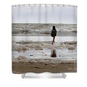 Girl Playing In Sea Foam Shower Curtain