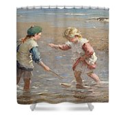 Playing In The Shallows Shower Curtain by William Marshall Brown