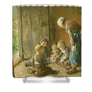 Playing Jacks On The Doorstep Shower Curtain by Bernardus Johannes Blommers