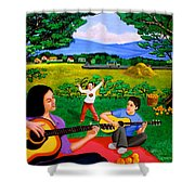 Playing Melodies Under The Shade Of Trees Shower Curtain