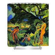 Playing Nudes Under Trees Shower Curtain