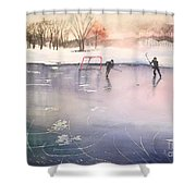 Playing On Ice Shower Curtain