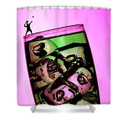 Playing Tennis On A Cup Of Lemonade Little People On Food Shower Curtain