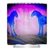 The Horses Were Playing The Blues Whole Night  Shower Curtain