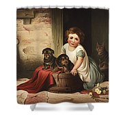 Playing With Friends Circa 1850 Shower Curtain by Aged Pixel