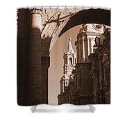 Plaza De Armas   Arequipa    Peru - Sepia Shower Curtain