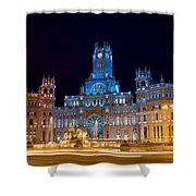 Plaza De Cibeles At Night In Madrid Shower Curtain