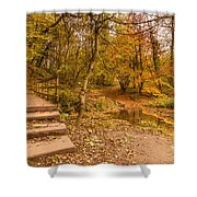 Plessey Woods Trail Over Footbridge Shower Curtain