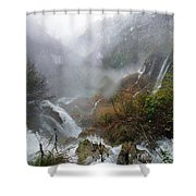 Plitvice Lakes In Winter 4 Shower Curtain