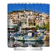 Plomari Town Shower Curtain