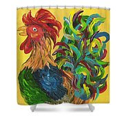 Plucky Rooster  Shower Curtain