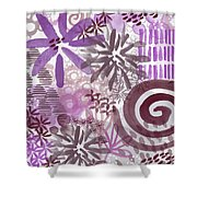 Plum And Grey Garden- Abstract Flower Painting Shower Curtain