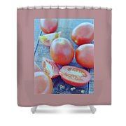 Plum Tomatoes On A Wooden Board Shower Curtain by Romulo Yanes