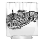 Pluto City Shower Curtain