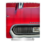 Plymouth Barracuda Grille Emblem Shower Curtain