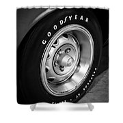 Plymouth Cuda Rallye Wheel Shower Curtain by Paul Velgos