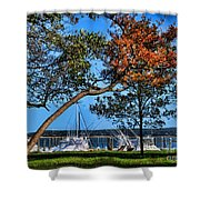 Plymouth Harbor In Autumn Shower Curtain
