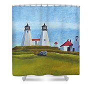 Plymouth Light Station Before 1924 Shower Curtain