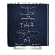 Pocket Knife Patent Drawing From 1886 - Navy Blue Shower Curtain