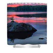Poconos Lake Whitney Sunset Silhouette Shower Curtain