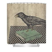 Poe And The Crow Shower Curtain