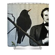 Poe And The Raven Shower Curtain