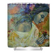 Poem At Twilight Shower Curtain by Dorina  Costras