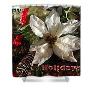 Poinsetta Christmas Card Shower Curtain