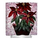 Poinsettias Expressive Brushstrokes Shower Curtain