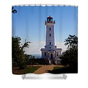 Point Abino Lighthouse Path Shower Curtain