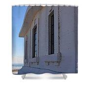 Point Abino Lighthouse Windows Shower Curtain