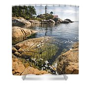 Point Atkinson Lighthouse In Vancouver Bc Vertical Shower Curtain