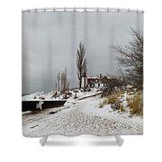 Point Betsie In Winter Shower Curtain