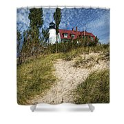 Point Betsie Lighthouse On Lake Michigan Shower Curtain