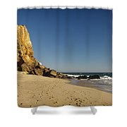 Point Dume At Zuma Beach Shower Curtain by Adam Romanowicz