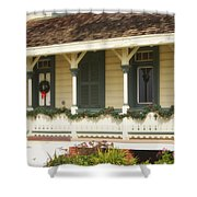Point Fermin Lighthouse Christmas Porch Shower Curtain