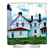 Point Iroquois Lighthouse Shower Curtain