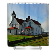 Point Iroquois Lighthouse On Whitefish Bay Michigan Shower Curtain