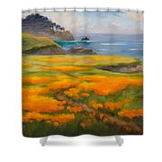 Point Lobos Poppies Shower Curtain