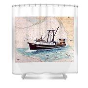 Point Loma Trawl Fishing Boat Nautical Chart Map Art Shower Curtain